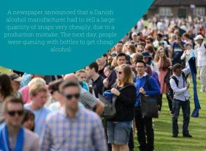 People queing for alcohol - Danish April Fool's Pranks